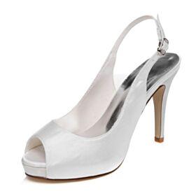 Spuntate Con Tacco A Spillo Bianche Sandali Scarpe Da Sposa Raso Tacco Alto 10 cm