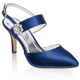 Knöchelriemen Stilettos Elegante Brautschuhe Mit Strasssteine Sandaletten Royalblau
