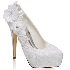 Tacchi A Spillo Con Strass Con Tacco Alto Decolte In Raso Scarpe Da Sposa Con Perle Con Applicazioni Avorio