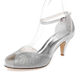キラキラ 結婚式 靴 アンクルストラップ 7センチ ヒール ミッド ヒール オープン トゥ シルバー サンダル レディース グリッター 7921180393F