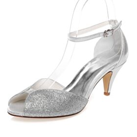 Round Toe Mid Heel Silver Wedding Shoes Sandals Bridesmaid Shoes Stiletto Sparkly Open Toe Ankle Strap Glitter