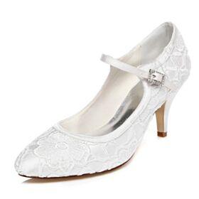 アンクルストラップ 白 エレガント 結婚式 靴 ミッド ヒール ピンヒール パンプス レース 7521180318F