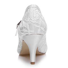 Weiß Pumps Brautschuhe Satin Stilettos Brautjungfer Schuhe Elegante Spitzen Mit Mittel Heel