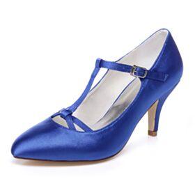 Royalblau 7 cm Mittel Heels Brautjungfer Schuhe Absatzschuhe Brautschuhe