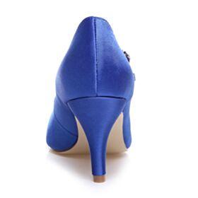 Bleu Roi Escarpins Talons Aiguilles Élégant Chaussure Mariée Bout Pointu