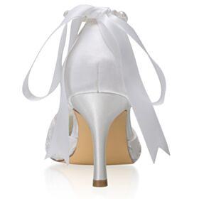 Eleganti A Punta Con Applicazioni Con Fiocco Tacco Alto Raso Decollete Scarpe Sposa Con Perle Bianco Tacco A Spillo Lacci Caviglia