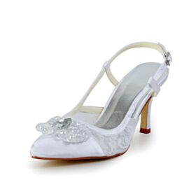 8 cm High Heels Beading Cute Out With Crystal Sandals Stiletto Bridals Wedding Shoes White Pointed Toe