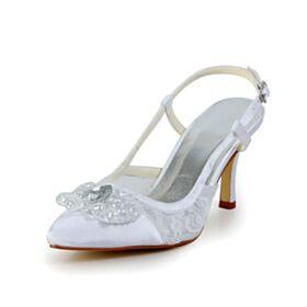 Eleganti Gioiello Scarpe Da Sposa A Punta Bianchi Tacco A Spillo Sandali Tacco Alto 8 cm