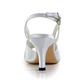 Ajourée 8 cm Talons Hauts Cristal Sandales Femme Élégant Talons Aiguilles Bout Pointu Chaussure De Mariée Blanche