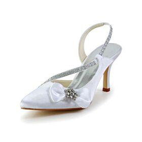 Di Raso Tacco A Spillo Con Fiocco A Punta Con Strass Bianco Tacco Alto Eleganti Sandali Donna