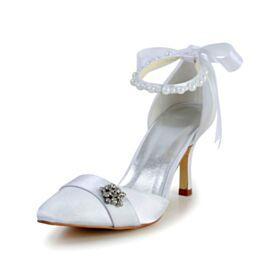 8センチ ハイヒール ホワイト ラインストーン 結婚式 靴 アンクルストラップ サンダル サテン エレガント ハイヒール 7121180387F