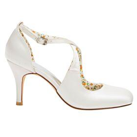 Brautschuhe Mit 8 cm High Heels Pumps Brautjungfer Schuhe Elegante Eckigem Ivory Riemchensandaletten Satin