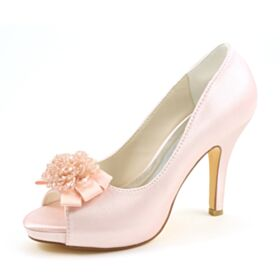 Élégant Noeud Peep Toes Talon Haut Rose Clair Satin Perlage Chaussure Mariée Talon Aiguille Chaussure Demoiselle D honneur