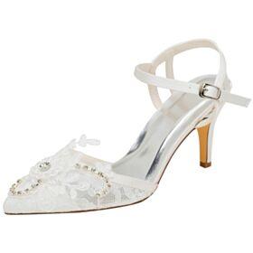 アンクルストラップ 結婚 式 靴 サテン レース 高い ハイヒール 8センチ サンダル エレガント アイボリー ピンヒール ポイン テッド トゥ 7621200372F