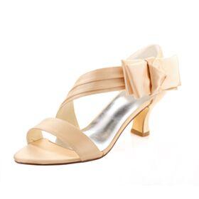 Champagner Gold Stilettos Sandaletten Damen Runde Zeh Elegante Brautschuhe 6 cm Mittel Heel