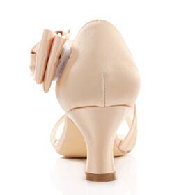 Satijnen Met Strik Mooie Champagne Stiletto Sandalen Dames Bruidsschoenen 6 cm Middelhoge Hakken