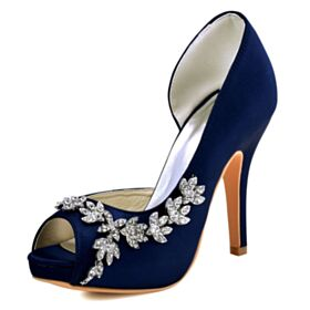 4 inch High Heel Bridal Shoes Peep Toe Stiletto Navy Blue Sandals