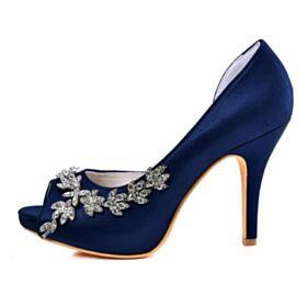 Peeptoes Stilettos Brautschuhe Marineblau Mit 10 cm High Heel