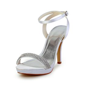 Sandalias Zapatos Para Novia Blancos Peep Toe 10 cm Tacon Alto Stiletto De Tiras Elegantes Con Strass