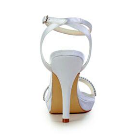 Stilettos Mit 10 cm Absatz Elegante Peeptoes Mit Strasssteine Sandaletten Damen Weiß Brautschuhe Knöchelriemen