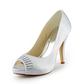 Tacones Altos Stilettos Elegantes Con Strass Blancos Sandalias Peeptoes