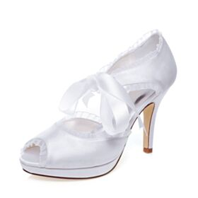 D orsay With Ankle Strap Pumps 4 inch High Heel Charming Peep Toe Bridal Shoes White
