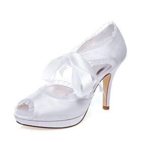 Zapatos Tacones Tacon Alto Zapatos De Novia Blancos Con Volantes Stilettos Peep Toe Elegantes