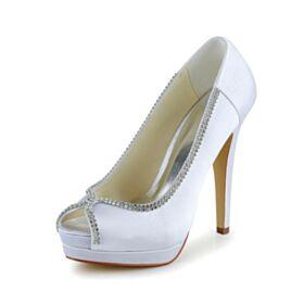 Tacco Alto In Raso Tacchi A Spillo Scarpe Sposa Spuntate Sandali Bianco Con Strass