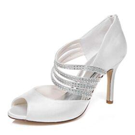 Peep Toe 10 cm High Heel Stiletto Bridal Shoes White Strappy Elegant Satin Sandals Bridesmaid Shoes