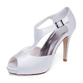 Satin Sandalen Stilettos Peeptoes Brautschuhe Brautjungfer Schuhe Weiß Elegante 10 cm High Heels