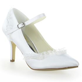 Ruffle 3 inch High Heel With Ankle Strap Pumps Shoes Bridals Wedding Shoes Pointed Toe Stiletto White Charming