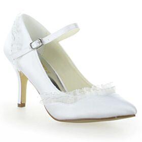 Satin Chaussure Mariée Belle 8 cm Talon Haut Talon Aiguille Bout Pointu Avec Bride Cheville Escarpins Blanche
