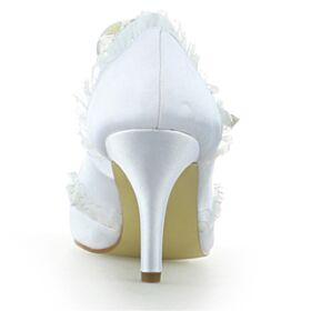 Pumps Knöchelriemen Elegante Weiß Stilettos Satin Brautschuhe High Heels Rüschen