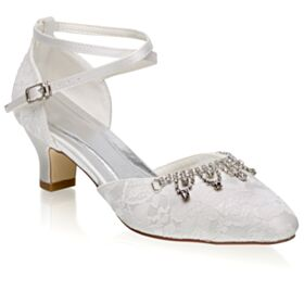 With Ankle Strap Stiletto Elegant Mid Heels With Rhinestones Satin Pumps White Lace Round Toe