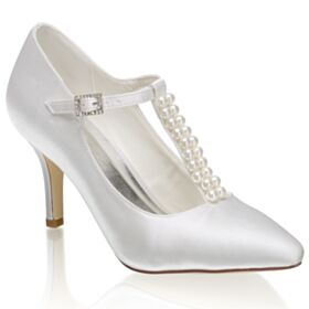 With Pearl Wedding Shoes High Heel Spring Satin White Pumps Pointed Toe