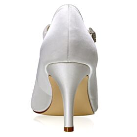 Chaussure Mariage Blanche 8 cm Talon Haut Escarpins Bride Cheville Talon Aiguille Satin