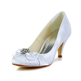 Mid Heels Bridesmaid Shoes Bridal Shoes White Pumps Dress Shoes Round Toe Stiletto With Rhinestones Beautiful