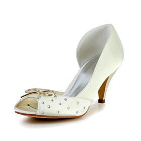 Ivoire Noeud 7 cm Talon Mid Talon Aiguille Chaussure De Mariée Strass Sandale Satin Belle Chaussure Demoiselle D honneur