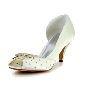 Round Toe Ivory Bridals Wedding Shoes Sandals For Women Charming Peep Toe Satin Mid Heel Bridesmaid Shoes