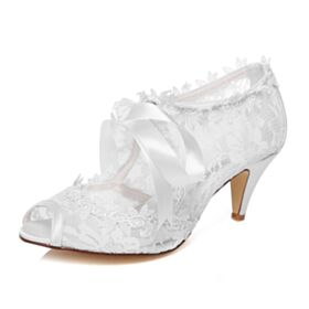 Stilettos Hollow Out Wedding Shoes Peep Toe Bridesmaid Shoes Mid High Heeled Tulle With Ankle Strap Elegant Sandals