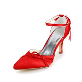 Wedding Shoes Red D orsay Spring 3 inch High Heeled Beautiful With Bowknot Pumps Pointed Toe