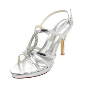 Runde Zeh Hochzeitsschuhe Silber Stilettos Sandaletten Damen