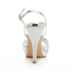 Strass Bout Rond 10 cm Talons Hauts Talons Aiguilles Chaussure Mariée Sandale