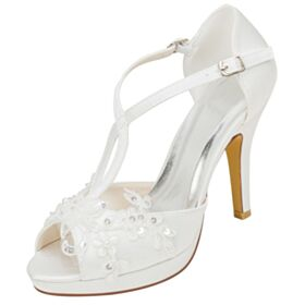 Creme Elegante Sandaletten Damen Brautschuhe Mit 10 cm Absatz Peeptoes Satin Applikationen Stilettos