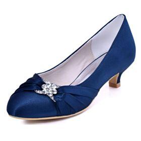 Brautjungfer Schuhe Schönes Marineblau Pumps Mit Strasssteine Runde Zeh Stilettos