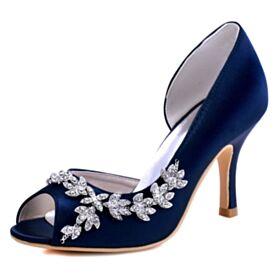 Bleu Marine Talon Haut Bout Rond Talons Aiguilles Élégant Chaussure Mariée Satin Peep Toes Sandales