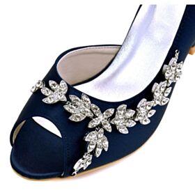 Hoge Hakken Bruidsschoenen Mooie Peep Toe Sandalen Met Steentjes Navy Satijnen Stiletto