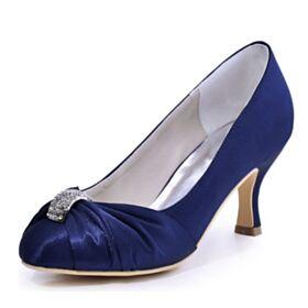Brautjungfer Schuhe Mit Absatz Mit Strasssteine Stilettos Elegante Satin Hochzeitsschuhe Marineblau Plissee Pumps
