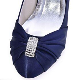 Steentjes 7 cm Heel Ronde Neus Pumps Bruidsmeisjes Schoenen Stiletto Plooi Bruidsschoenen Mooie