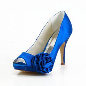 Stilettos Peeptoes Sandaletten Satin Applikationen Brautschuhe Elegante Royalblau